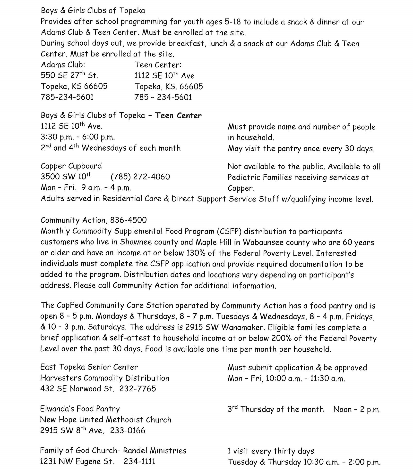 Shawnee County Food Pantries Page 2-2